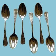 Gorham Sterling Aesthetic Period 6 Teaspoons Circa 1880's