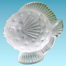 Lalique France Puffer Fish / Blowfish Frosted Crystal Paperweight