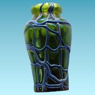 Bohemian Art Glass Art Nouveau Threaded Glass Vase Loetz or Kralik
