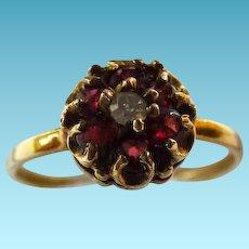 Vintage 14K Garnet & Diamond Cluster Ring