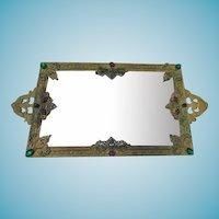 Vintage SilverCraft Mirrored & Jeweled Perfume/Vanity Tray