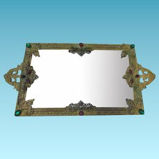 Vintage SilverCraft Mirrored & Jeweled Perfume/Vanity Tray