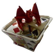 Royal Bayreuth Devil & Cards Covered Box or Sugar