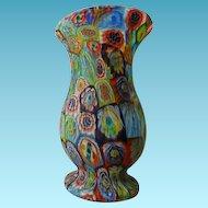 """Vintage Millefiori Art Glass Vase 8"""""""