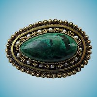 Israeli Sterling Eilat Stone & Cultured Pearl Pendant/Brooch