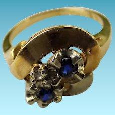 Vintage 14K Sapphire & Diamond Ring
