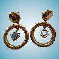 14K & Blue Topaz Pierced Earrings  - Hoop & Hearts