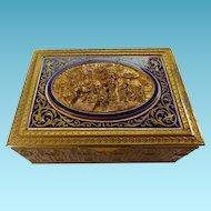 French 19th C Bronze & Enamel Humidor/Trinket Box