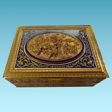 French 19th C Bronze & Enamel Humidor/Trinket Box