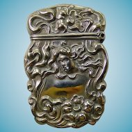 Art Nouveau STERLINE Match Safe Woman's Head