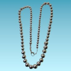 Classic Sterling Silver Graduated Ball Bead Necklace 25""