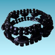 Vintage Jet Black Glass Bracelet