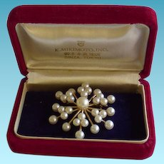 Gorgeous Mikimoto 14K Pendant/Brooch In Original Box