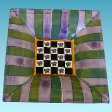 """Vintage Mackenzie-Childs Kelp and Urchin Pattern Square Plate 6 1/2"""""""
