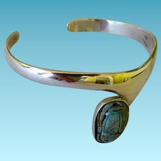 Sterling Silver Modernist Bracelet With Scarab