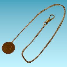 14K Art Deco Watch Chain With Penny Fob