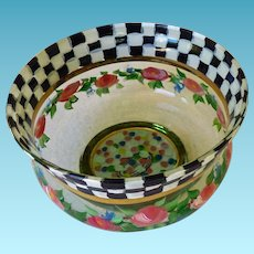 Mackenzie-Childs Courtly Rose Glass Bowl