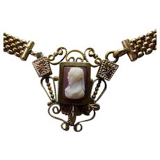 Victorian GF Mesh Necklace With Hardstone Cameo