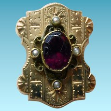 Large Victorian GF Slide With Red Stone & Seed Pearls
