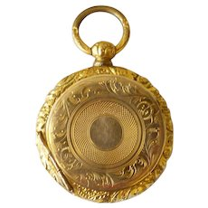 Antique Civil War Era Watch Style Photo Locket With Two Daguerreotypes