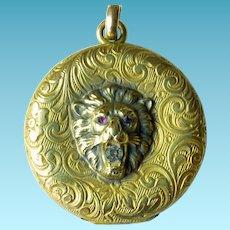 Victorian/Edwardian GF Lion Locket