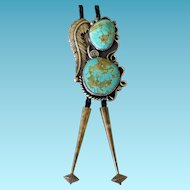 Huge Southwestern Sterling & Turquoise Bolo