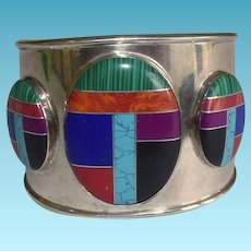 Native American Sterling Cuff Bracelet With Inlaid Semi-Precious Stones