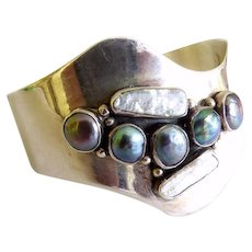 Sterling Cuff Bracelet Modernist Style With Cultured Pearls