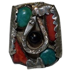 Native American Snake Ring Sterling With Turquoise Coral & Onyx