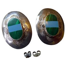 Mexican Sterling Earrings With Malachite