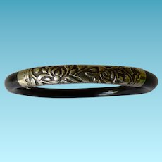 Chinese Repousse Silver & Wood Bangle Bracelet