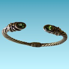 Sterling & 14K Bangle With Peridot