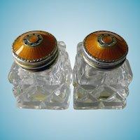 Pair Norwegian Sterling & Crystal Salts With Guilloche Enamel Tops