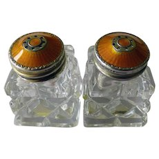 Pair Norwegian Sterling & Crystal Salts With Guilloche Enamel Tops