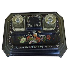 Victorian Papier Mache Double Inkwell Desk Stand Mother of Pearl Inlays