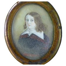 Antique Portrait Miniature of Young Lad - Regency Period