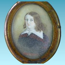 Antique Portrait Miniature of Young Lad Regency Period