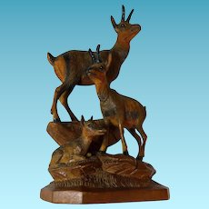 Black Forest Hand Carved Sculpture of Three Stags 19th Century