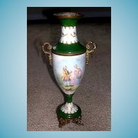 Antique French Porcelain Urn with Ormolu Mounts   Artist Signed