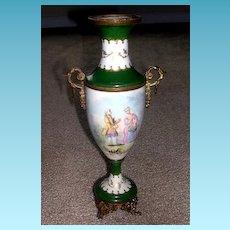 Antique French Porcelain Urn with Ormolu Mounts   Artist Signed