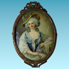 Hand Painted Portrait Miniature in Ladies French Dresser Mirror Signed LEBRUN