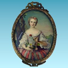 Hand Painted Portrait Miniature in Ladies French Dresser Mirror Signed J.M. Nattier