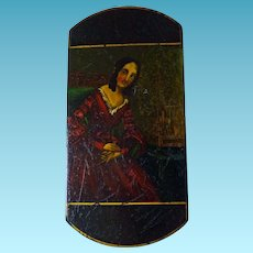 Early 19th Century Cigar Case Papier Mache Hand Painted