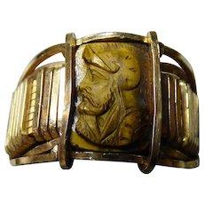 Gent's Vintage Carved Tiger Eye Ring - 14k