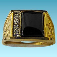 Gent's Vintage 10K Onyx & Diamond Ring