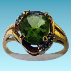 Lovely 14K Peridot & Diamond Ring
