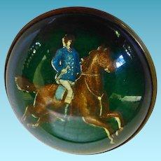 Reverse Intaglio Bridal Rosette Pin Man On Horse