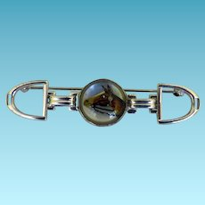 Essex Crystal Sterling Bar Pin of a Horse