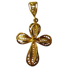 21 Karat Yellow Gold Filigree Cross