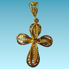 21 Karat Yellow Gold Filigree Cross